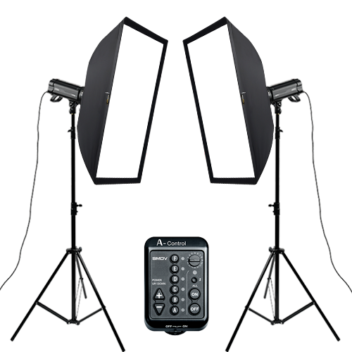 A400 - L Set Square Set Flash 2ea :  SOFTBOX 75-100, A-Control, TripodSMDV
