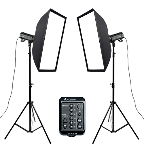 A400 - S Set Square Set Flash 2ea :  SOFTBOX 60-90, A-Control, TripodSMDV